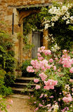 Stairs to the garden into Medieval castle Royalty Free Stock Image