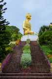 Stairs to Golden big Buddha statue on top of a hill. As a tourist destination, and how Buddhist place of worship. Stock Images