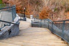 Stairs to Grand Arbor in Piedmont Park, Atlanta, USA. Curved staircase to Grand Arbor in the Piedmont Park in autumn day, Atlanta, USA Royalty Free Stock Photos