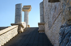 Stairs to Greek theater on the background of blue sky Stock Images