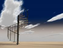 Stairs to heaven abstract illustration with sky and clouds. Royalty Free Stock Images