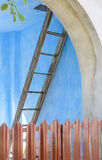 Stairs to heaven. With blue color on background Stock Photos