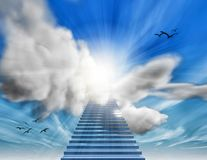 Stairs to heaven blue sky and clouds 3D illustration. Stairway to heaven 3D rendering Royalty Free Stock Photos