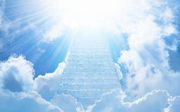 Stairs to heaven, bright light from heaven. Beautiful religious background - stairs to heaven, bright light from heaven, stairway leading up to skies Royalty Free Stock Photos