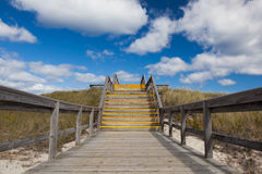 Stairs to heaven, Crane beach, Massachusetts, USA. Sunny day on crane beach with scenic stairs view Stock Photography