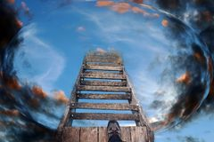 Stairs to heaven. Stairs into the future.  Stock Photo