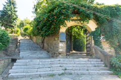 Stairs to Hisar hill to the monument to Vassil Levski in Lovech, Bulgaria Royalty Free Stock Images