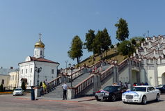 Stairs to the Holy Dormition Cathedral from the Church of the Holy Spiritual Convent in Vitebsk. Stock Images