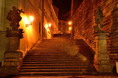 Stairs to Loreto street in Prague by night Stock Photos