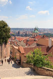 Stairs to Mala Strana (Lesser Town) and St. Nicholas Church, Prague Stock Photos