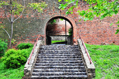 Stairs to the medieval surrounding wall Royalty Free Stock Photography