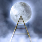 Stairs To The Moon. Fantasy Illustration of a cloudy night sky with a stair towards the moon Royalty Free Stock Photos