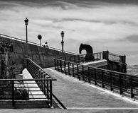 Stairs to nowhere. Black and white. Narrow paths on the coast of Malta. Valletta stock photography