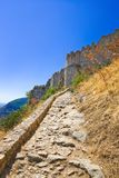 Stairs to old fort in Mystras, Greece. Travel background Royalty Free Stock Images