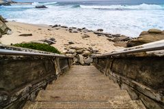 Stairs to the Pacific ocean Stock Image