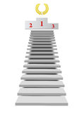 Stairs to pedestal. Long stairs to pedestal isolated on the white background Stock Image