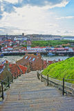 Stairs to Pier to Sea in Whitby in North Yorkshire Stock Images