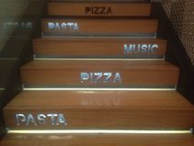 Pizza, pasta and music stairs Royalty Free Stock Image