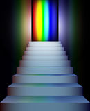 Stairs to the rainbow. Vector stairs going up to rainbow colors Royalty Free Stock Image