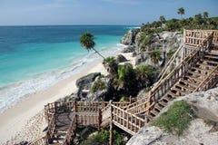 Stairs to sandy beach Royalty Free Stock Photos