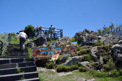 Stairs to Sevanavank monastery, pictures and tourists Stock Image