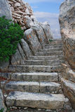 Stairs to the sky. Stone stairs on the mountain. It seems like the way to the sky Royalty Free Stock Photos