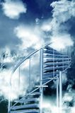 Stairs to Sky. Steel Spiral Stairs to Cloudy Sky. Abstract Illustration. Vertical Design Royalty Free Stock Images