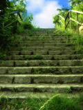 Stairs to sky. Stairs with a blue cloudy sky at the end royalty free stock photos
