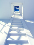 Stairs to the sky. 3d rendered illustration. White stairs to the sky Royalty Free Stock Photos