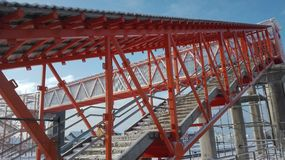 Stairs to sky. It is stairs of bridge. This construction is not completed. The bridge is over train track stock images