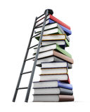 Stairs to the stacks of books on white background. 3d rendering.  Royalty Free Stock Images