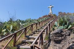 Stairs To Statue Of Jezus Christ At Garajau In Funchal, Madeira Royalty Free Stock Photography