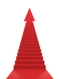 Stairs to Success. Red stairs with arrow in the top. Success concept Stock Image