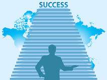 Stairs to the success. And behind map of the world Stock Images