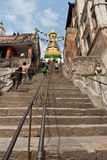Stairs to the Swayambhunath Temple Stock Image