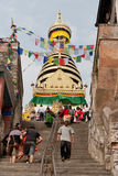 Stairs to the Swayambhunath Temple Royalty Free Stock Photography