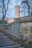 Stairs to Tall Hermann tower. View from Hirve park to Pikk Hermann Royalty Free Stock Photo