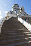 Stairs to the temple Holy Face of Christ the Savior in settlement Adler, Sochi Royalty Free Stock Photos