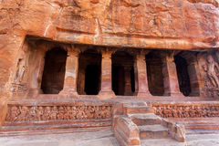 Stairs to 6th century cave Hindu temple, architecture landmark in Badami, India Stock Photography