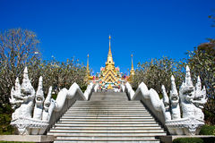 Stairs to the thai Temple on the mountains. With blue sky in prachuapkhirikhan Thailand Royalty Free Stock Photo