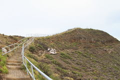 Stairs to top of Kelimutu mountain Royalty Free Stock Photos