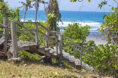 Stairs to a tropical beach Stock Images