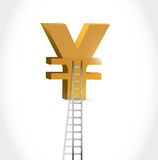 Stairs to yen currency symbol illustration. Design over white Royalty Free Stock Image