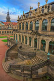 Stairs top view  at Zwinger palace and Residenzschloss (city hal Royalty Free Stock Images