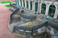 Stairs top view at Zwinger palace and Residenzschloss (city hal royalty free stock photo