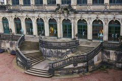 Stairs top view  at Zwinger palace and Residenzschloss (city hal Stock Photos