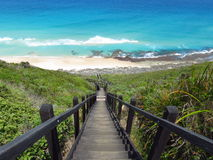 Stairs towards the blue ocean. Next to Albany Wind Farm near Albany, Western Australia Stock Photo