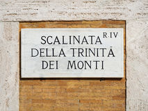 Stairs Trinity Mountains sign Rome Italy Stock Images