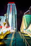 Stairs and the Trump Taj Mahal at night in Atlantic City, New Je Royalty Free Stock Photos