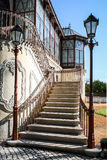 Stairs with two vintage lamp poles Stock Images
